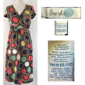 BODEN Cotton Stretch Retro Circles + Dots Dress